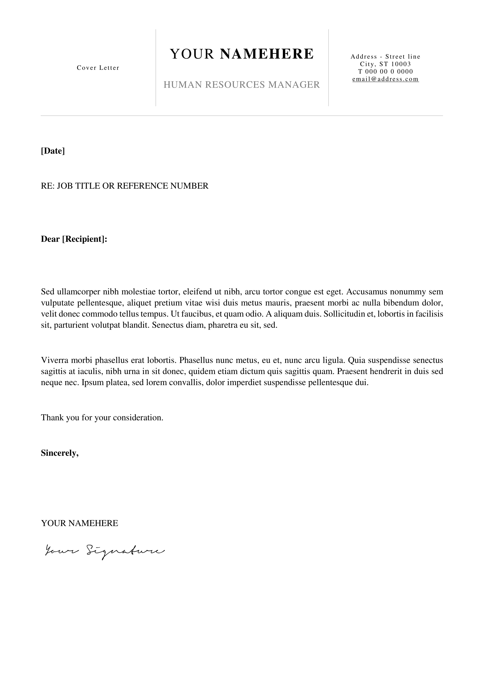 ... Kallio   Free Simple Cover Letter Template For Word (DOCX)