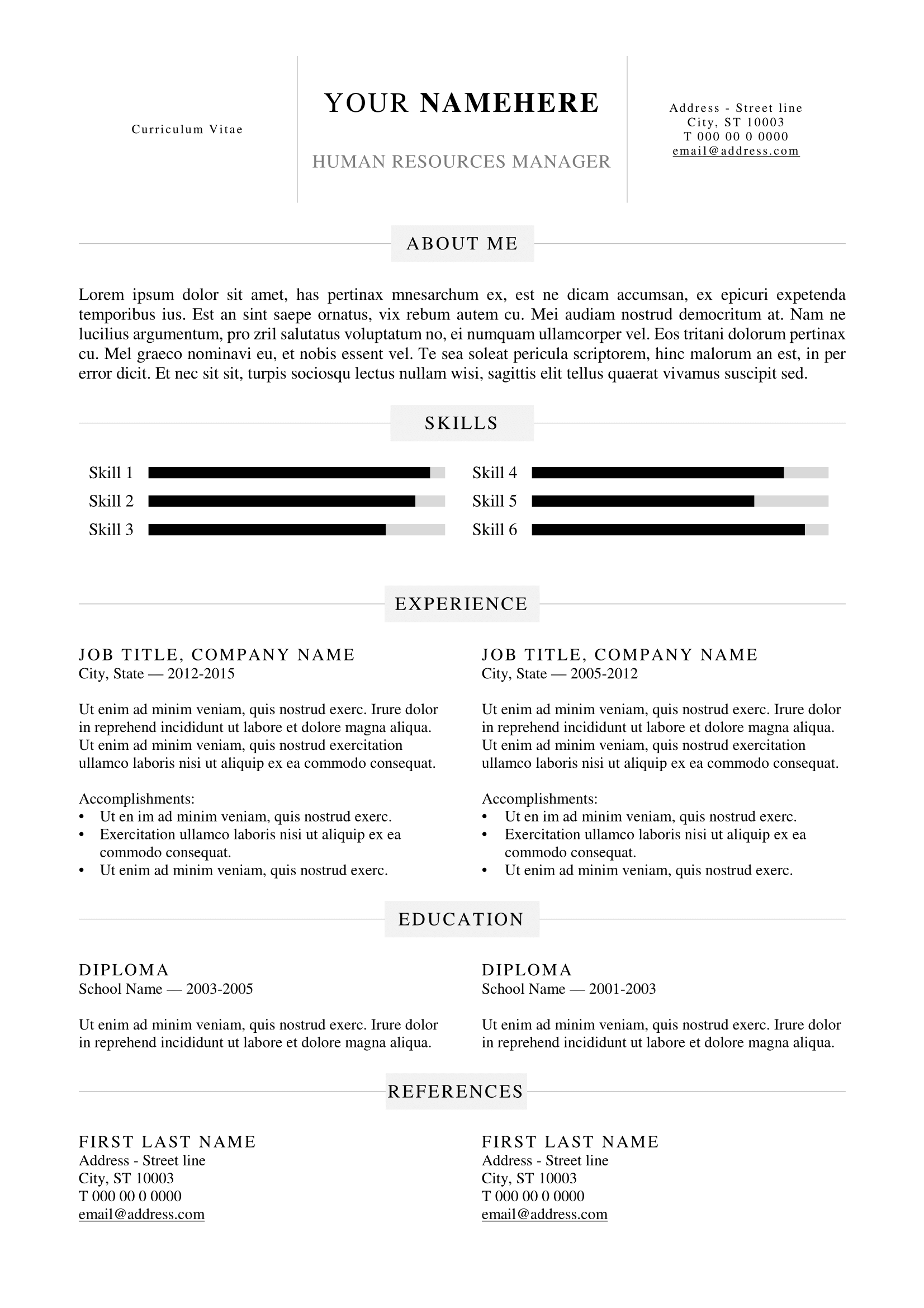 kallio free simple resume template for word docx