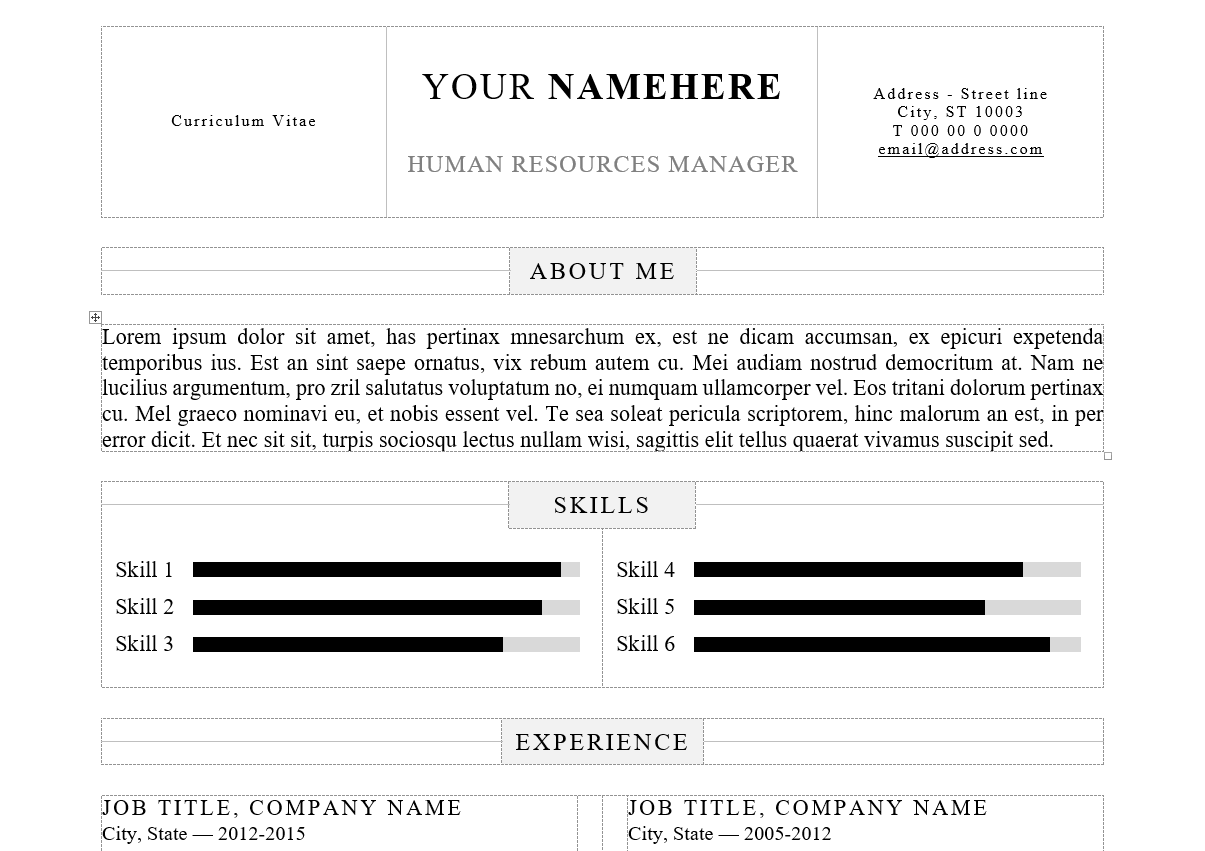 Kallio   Word Resume Template   Pre Formatted