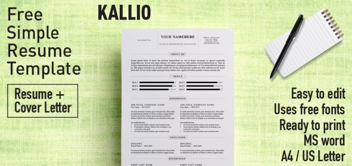 Kallio-free-resume-template-word-720x340 Template Cover Letter Design Free Black Professional Resume Fondul on