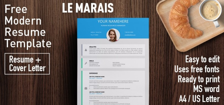 Charming Le Marais   Free Modern Resume Template For Word (DOCX)