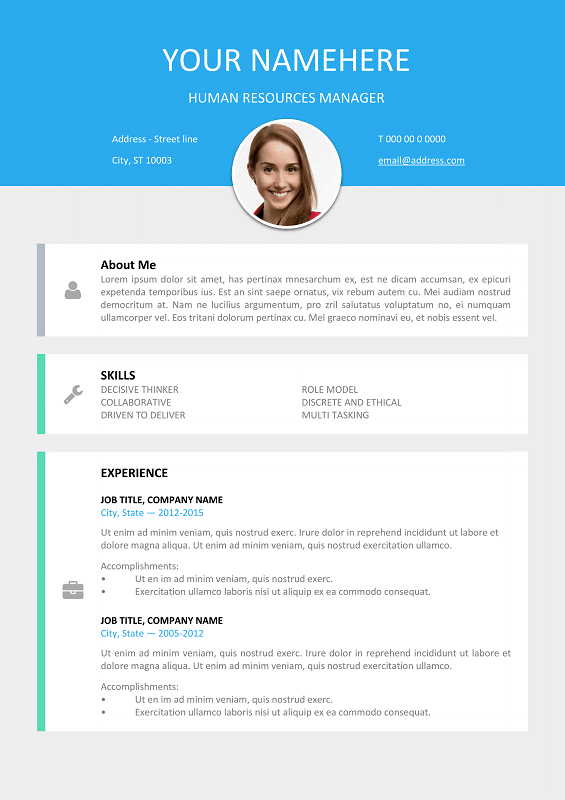 Le Marais Free Modern Resume Template For Word (DOCX) ...  Resume With Photo Template
