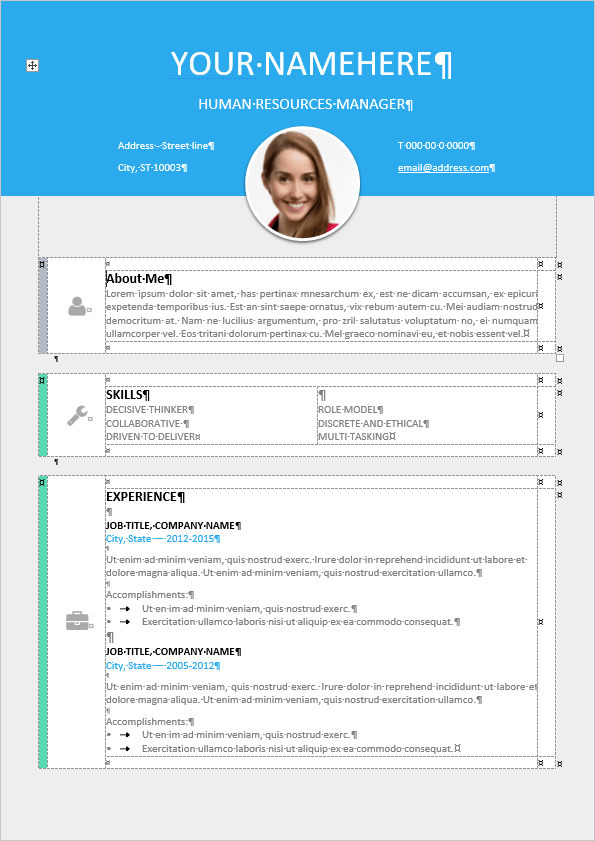 Le Marais Free Modern Resume Template Table Formatted