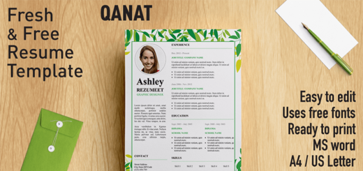 qanat floral resume template - Free Word Resume Template