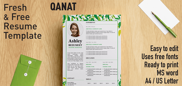 qanat floral resume template for word