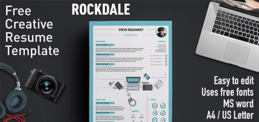 Rockdale Free Resume Template 520x245 - Awesome free resume template with icons