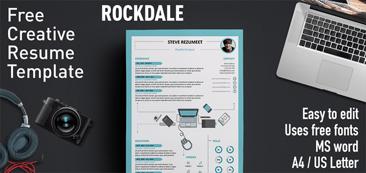 rockdale creative resume template. Black Bedroom Furniture Sets. Home Design Ideas