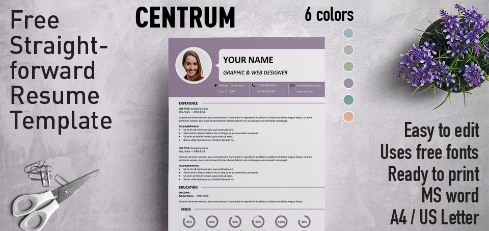 Centrum - Simple Resume Template