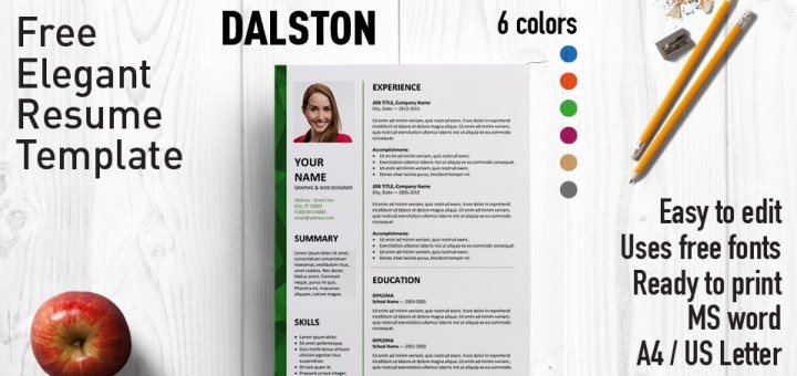 dalston free resume template microsoft word - Free Resume Fonts