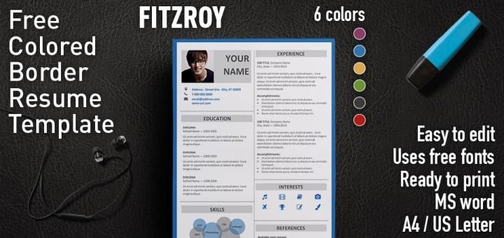 fitzroy free resume template microsoft word - Resume Format In Microsoft Word