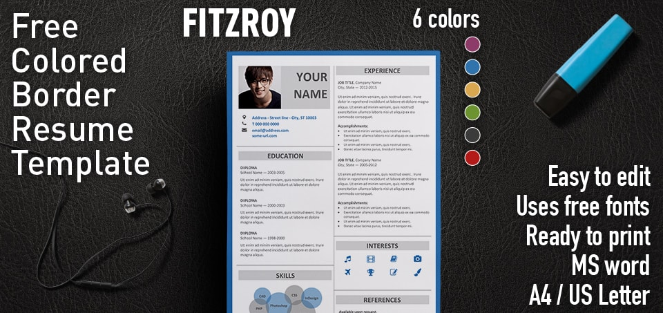 Fitzroy Free Resume Template Microsoft Word